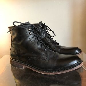 Frye James Lace-up Black Leather Boot